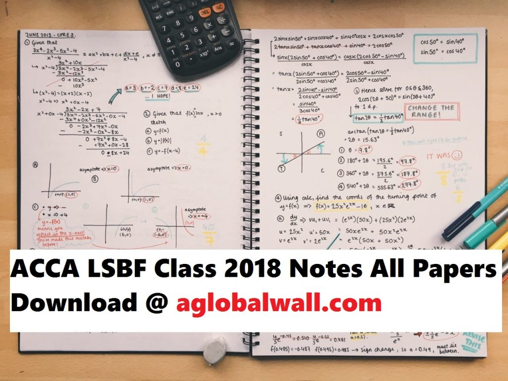 ACCA LSBF Class 2018 Notes All Papers Download - ACCA Study Material